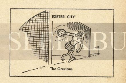 VINTAGE Football Print EXETER - THE GRECIANS Funny Cartoon